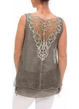 Sleeveless Layered Lace Trim Top Green - Gallery Image 3