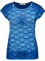 Anna Rose Embellished Lace Layer Top Cobalt - Gallery Image 1