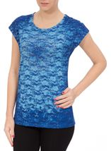 Anna Rose Embellished Lace Layer Top Cobalt - Gallery Image 2