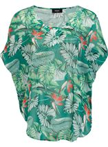 Garden Print Embellished Georgette Cover Up Green/Red - Gallery Image 1