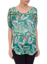 Garden Print Embellished Georgette Cover Up Green/Red - Gallery Image 2