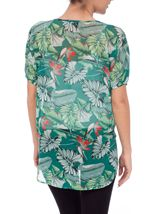 Garden Print Embellished Georgette Cover Up Green/Red - Gallery Image 3
