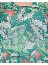 Garden Print Embellished Georgette Cover Up Green/Red - Gallery Image 4