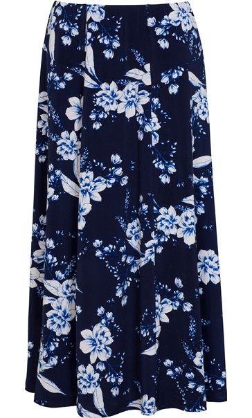 Anna Rose Panelled Floral Print Skirt Navy/Cobalt/White