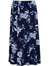 Anna Rose Panelled Floral Print Skirt Navy/Cobalt/White - Gallery Image 1
