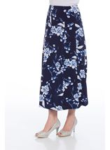 Anna Rose Panelled Floral Print Skirt Navy/Cobalt/White - Gallery Image 2
