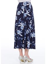 Anna Rose Panelled Floral Print Skirt Navy/Cobalt/White - Gallery Image 3