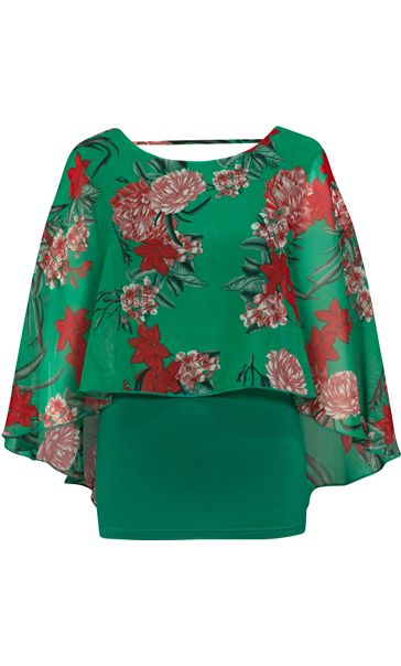 Floral Chiffon And Jersey Kimono Top Green/Strawberry