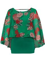 Floral Chiffon And Jersey Kimono Top Green/Strawberry - Gallery Image 1