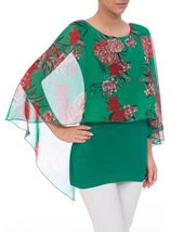 Floral Chiffon And Jersey Kimono Top Green/Strawberry - Gallery Image 2