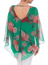 Floral Chiffon And Jersey Kimono Top Green/Strawberry - Gallery Image 3