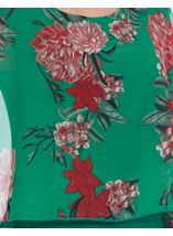 Floral Chiffon And Jersey Kimono Top Green/Strawberry - Gallery Image 4