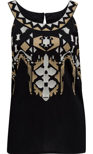 Embroidered Sleeveless Top Black