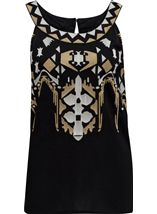 Embroidered Sleeveless Top Black - Gallery Image 1