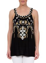 Embroidered Sleeveless Top Black - Gallery Image 2