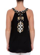 Embroidered Sleeveless Top Black - Gallery Image 3