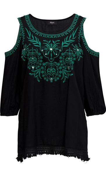 Embroidered Cold Shoulder Tunic Black/Green