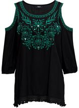 Embroidered Cold Shoulder Tunic Black/Green - Gallery Image 1