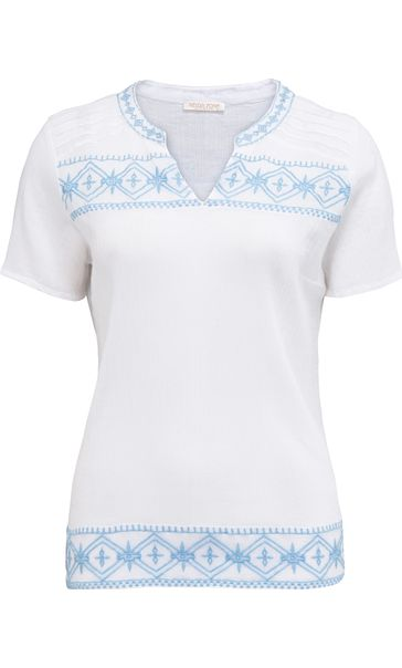 Anna Rose Tribal Embroidered Crinkle Cotton Top White/Sky