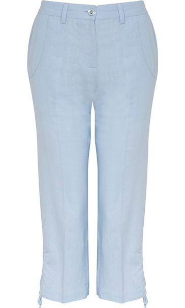 Anna Rose Linen Blend Cropped Trousers Sky