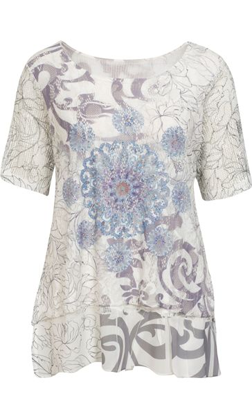 Anna Rose Embellished Lace Layered Top Grey/White