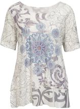 Anna Rose Embellished Lace Layered Top Grey/White - Gallery Image 1
