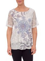 Anna Rose Embellished Lace Layered Top Grey/White - Gallery Image 2