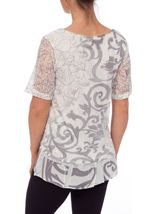 Anna Rose Embellished Lace Layered Top Grey/White - Gallery Image 3