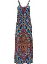 Sleeveless Printed Jersey Maxi Dress Blue/Coral - Gallery Image 1