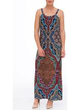 Sleeveless Printed Jersey Maxi Dress Blue/Coral - Gallery Image 2