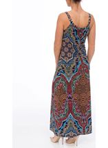 Sleeveless Printed Jersey Maxi Dress Blue/Coral - Gallery Image 3