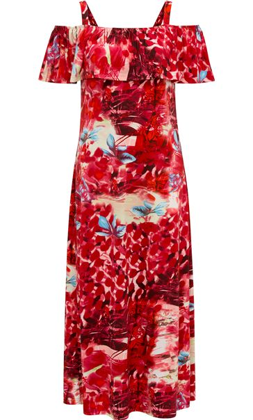 Cold Shoulder Printed Jersey Maxi Dress