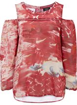 Printed Chiffon Cold Shoulder Top Red - Gallery Image 1
