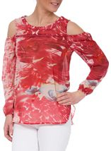 Printed Chiffon Cold Shoulder Top Red - Gallery Image 2