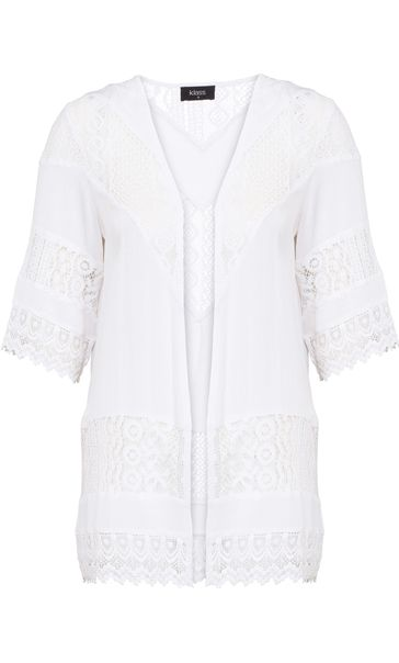 Lace Trim Open Cover Up White