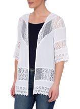 Lace Trim Open Cover Up White - Gallery Image 2