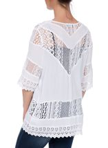 Lace Trim Open Cover Up White - Gallery Image 3