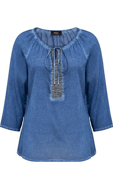 Embellished Washed Three Quarter Sleeve Cotton Top Light Blue