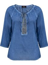 Embellished Washed Three Quarter Sleeve Cotton Top Light Blue - Gallery Image 1