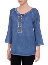 Embellished Washed Three Quarter Sleeve Cotton Top Light Blue - Gallery Image 2