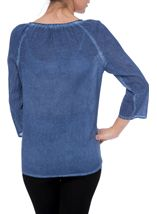 Embellished Washed Three Quarter Sleeve Cotton Top Light Blue - Gallery Image 3