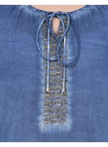 Embellished Washed Three Quarter Sleeve Cotton Top Light Blue - Gallery Image 4