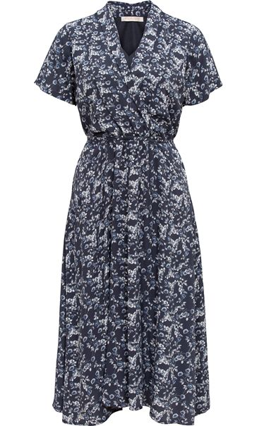 Anna Rose Floral Short Sleeve Midi Dress Blue/Grey