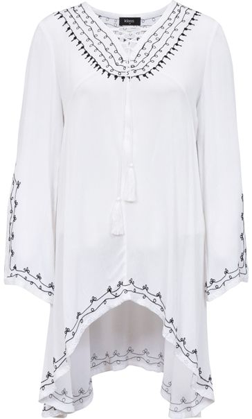 Embroidered Shaped Hem Long Sleeve Top White