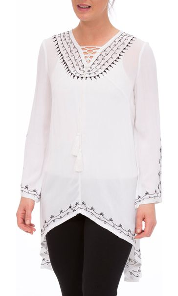 Embroidered Shaped Hem Long Sleeve Top White - Gallery Image 2