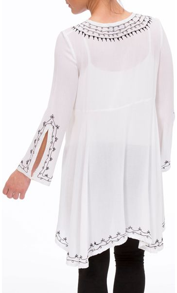 Embroidered Shaped Hem Long Sleeve Top White - Gallery Image 3
