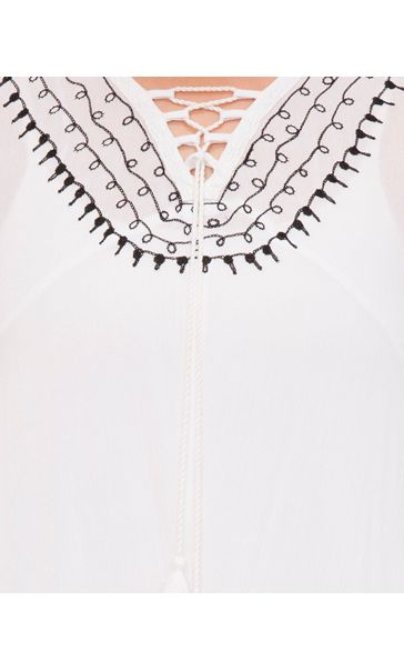Embroidered Shaped Hem Long Sleeve Top White - Gallery Image 4