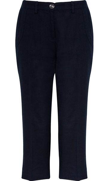 Anna Rose Linen Blend Cropped Trousers Navy