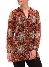 Printed Cold Shoulder Georgette Tunic Orange - Gallery Image 2