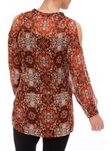 Printed Cold Shoulder Georgette Tunic Orange - Gallery Image 3